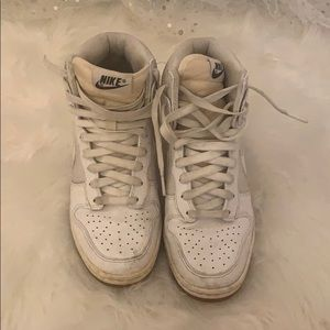 Nike Sky Hi Dunk Platform Heels All White Size 7